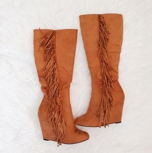 CR Fringe Wedge Boots